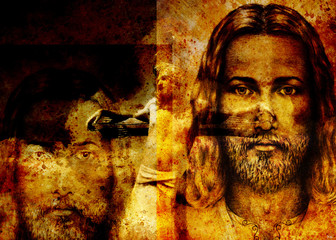 interpretation of Jesus on the cross, graphic painting version. Sepia effect.