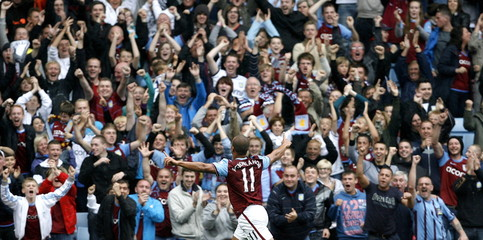 Aston Villa's Gabriel Agbonlahor celebrates scoring their second goal