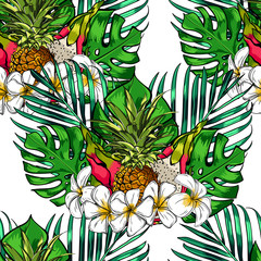 Tropical leaves and exotic flowers on background. Exotic seamless pattern. botanical print.