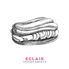 Vector hand drawn eclair Illustration.
