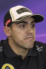 Lotus Formula One driver Pastor Maldonado of Venezuela attends a news conference before the Mexican F1 Grand Prix at Autodromo Hermanos Rodriguez in Mexico City