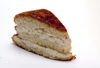 sponge cake with cottage cheese on white background/sponge cake/isolated objects