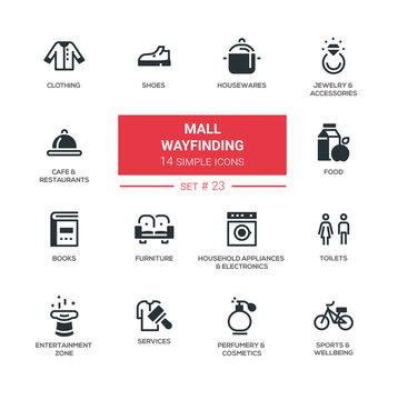 Mall wayfinding - modern simple icons, pictograms set
