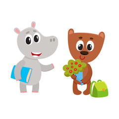Cute animal student characters, bear with bunch of flowers, hippo holding book, cartoon vector illustration isolated on white background. Little animal student characters, back to school concept