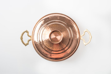 Copper Pan on White Background
