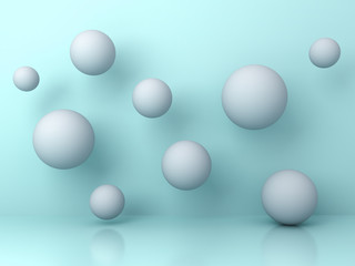Abstract white flying 3d spheres on cyan background with reflection and shadows. 3D rendering.