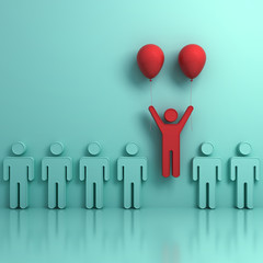 Stand out from the crowd and different creative idea concepts , One man flying upward with two red balloons out from green people on light green background with reflections and shadows. 3D rendering.