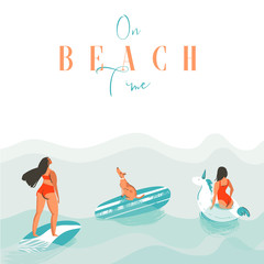 Hand drawn vector abstract exotic summer time funny illustration with surfer girls, unicorn float,surfboard and dog on blue ocean waves with modern calligraphy On beach time