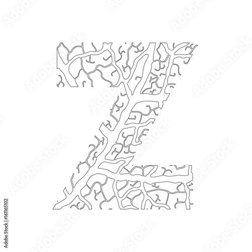 Nature alphabet ecology decorative font capital letter z filled nature alphabet ecology decorative font capital letter z filled with leaf veins pattern black spiritdancerdesigns Image collections