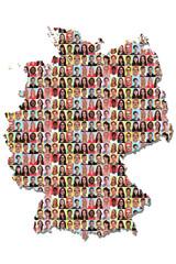 Deutschland Karte Menschen Leute Gruppe Integration bunt multikulturell Vielfalt