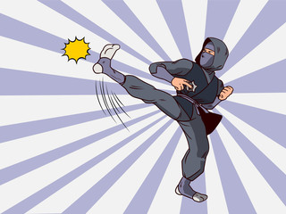 Ninja pop art. Assassin strikes comic Illustration