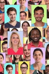 Portrait Sammlung multikulturell soziale Medien hochkant Menschen junge Leute Gruppe
