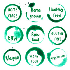 Healthy Food collection of round watercolor stains with home made, grown, healthy food, gluten free, vegan, vegetarian, food, raw text. Set of vector Healthy Food stamps.