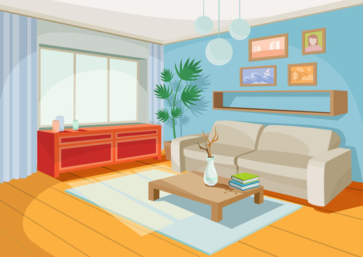 Vector illustration of a cozy cartoon interior of a home room, a living room with a sofa, coffee table, chest of drawers, shelf and window curtains