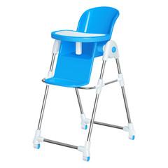 Голубой детский стульчик для кормления малышей, со съемным столиком, на колесиках, изолированный на белом фоне