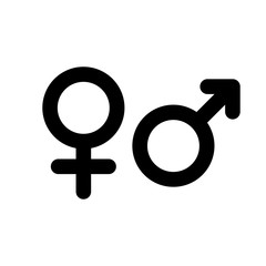 Male and female gender symbol. Simple black flat icon with rounded corners on white background. Vector illustration.