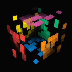 Vector 3d illustration of creative colorful cubes in space on a dark background for your fashionable design
