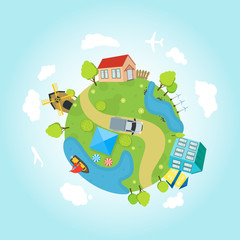 Cartoon Planet Earth with Houses, Ocean, Roads. Vector