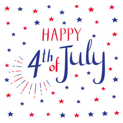 Happy 4th of July. Calligraphy and stars in blue and red colors. Vector illustration on white background.