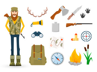 Hunter and accessories for hunting Icon set