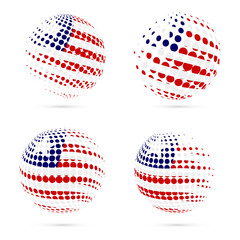 Liberia halftone flag set patriotic vector design. 3D halftone sphere in Liberia national flag colors isolated on white background.