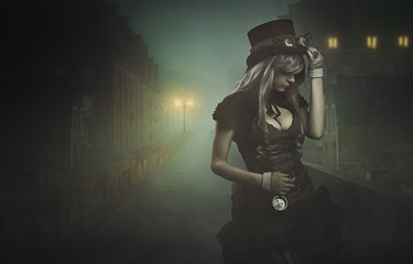 Steampunk woman in misty city