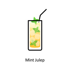 Mint Julep cocktail icon in flat style