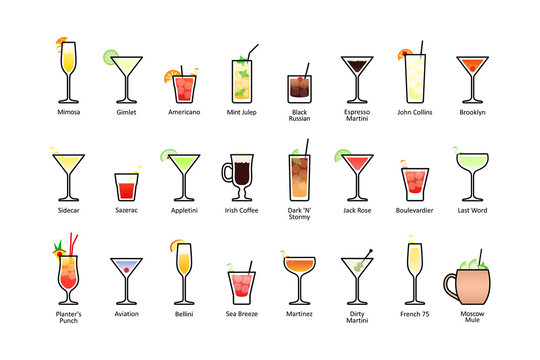Popular alcoholic cocktails with titles part 2, icons set in flat style on white background
