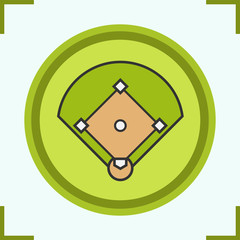 Baseball field color icon