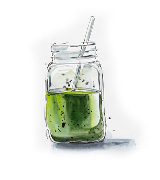 Green smoothie in the bottle. Watercolor hand drawn illustration