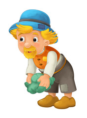 beautifully colored cartoon character older farmer standing and on the ground and looking ahead , lifting up cabbage or lettuce / isolated illustration for children