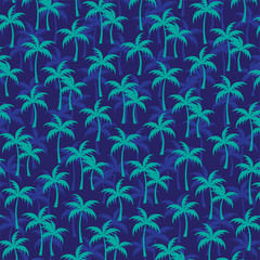 layered turquoise palm trees on navy blue