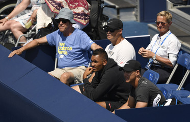 Australia's Nick Kyrgios watches the action