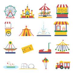 Amusement park flat elements isolated background infographic design concept vector illustration