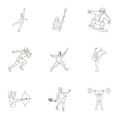 Olympic sports. Winter and summer sports. A set of pictures about athletes.Olympic sports icon in set collection on outline style vector symbol stock illustration.