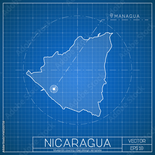 Nicaragua blueprint map template with capital city. Managua marked ...
