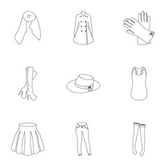 Pictures about types of women's clothing. Outerwear and underwear for women and girls. Woman clothes icon in set collection on outline style vector symbol stock illustration.