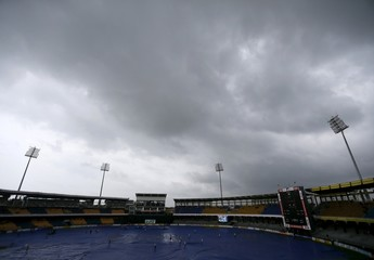 Dark clouds gather overhead as the first One Day International cricket match between Sri Lanka and West Indies is delayed in Colombo