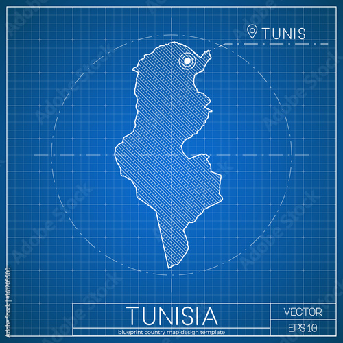 tunisia blueprint map template with capital city tunis marked on