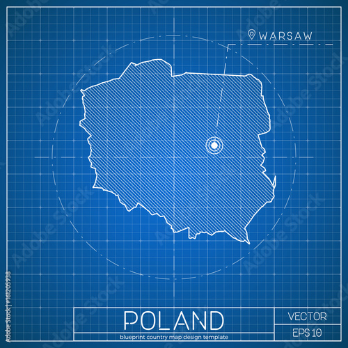 Capital Of Poland Map.Poland Blueprint Map Template With Capital City Warsaw Marked On