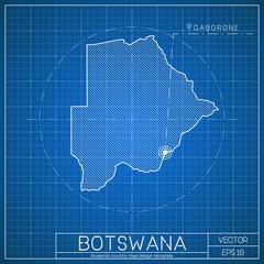 Botswana blueprint map template with capital city. Gaborone marked on blueprint Motswana map. Vector illustration.