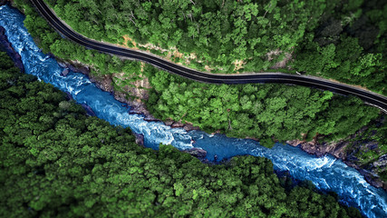Aerial view of Mountain river and road. Mountain gorge Fototapete