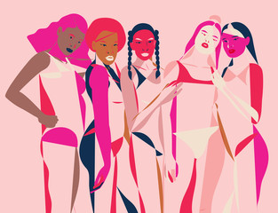 Illustration of group of women in pink