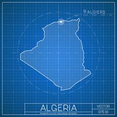 Algeria blueprint map template with capital city. Algiers marked on blueprint Algerian map. Vector illustration.