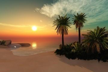 Tropical beach Ocean beach with palm trees on sunset background Sun over the sea