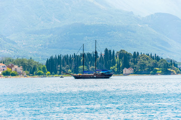 MONTENEGRO, TIVAT - MAY 27/2107: during good weather, many yachts stroll along the Boka Kotorska Bay.