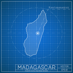 Madagascar blueprint map template with capital city. Antananarivo marked on blueprint Malagasy map. Vector illustration.