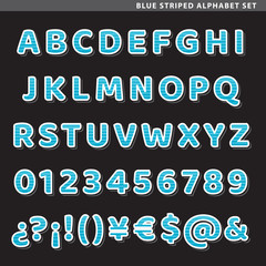 blue striped alphabet set