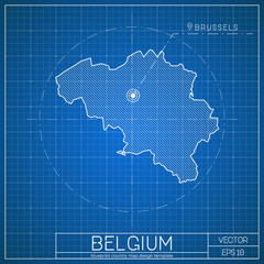 Belgium blueprint map template with capital city. Brussels marked on blueprint Belgian map. Vector illustration.