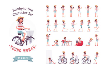 Ready-to-use young woman character set, various poses and emotions